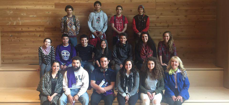 Jessica Hernandez, Dr. Kristiina Vogt, Isabel Carerra, Sam Zwicker, and students from Chief Kitsap Academy.