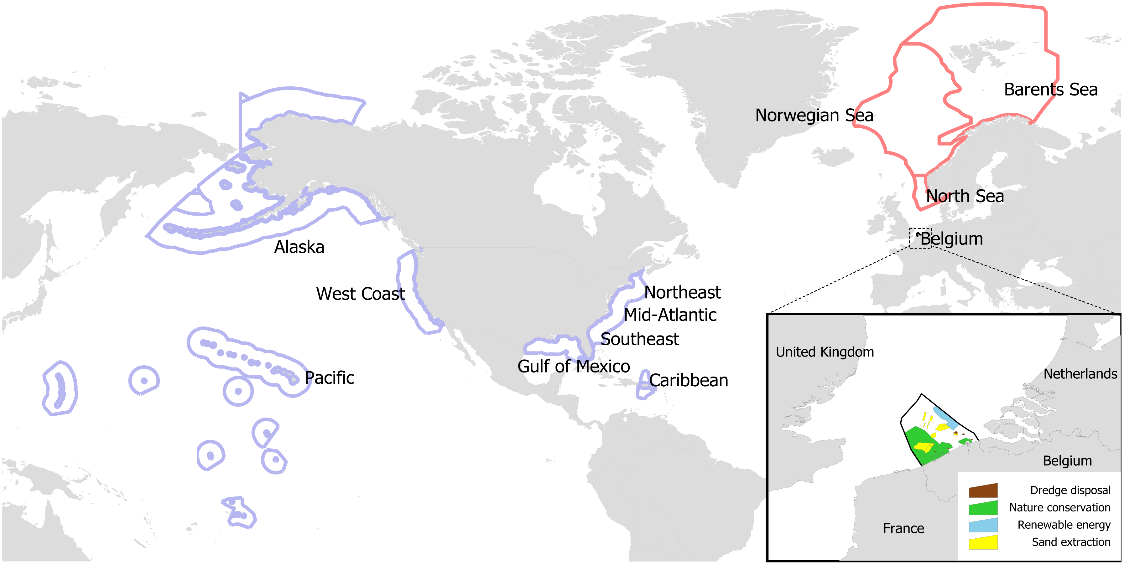 Marine spatial planning (MSP) study areas around the North Atlantic.