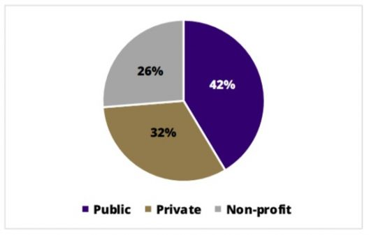 A pie chart showing 42% employed in Public sector, 32% in private, and 26% in non-profit.