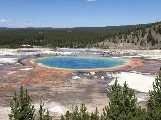 An image of the Grand Prismatic Spring in Yellowstone National Park.
