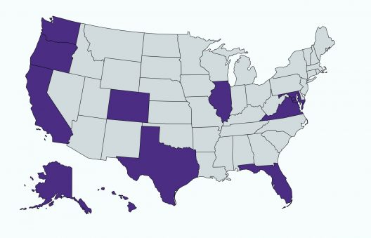 An outline map of the US showing Washington, Oregon, California, Alaska, Hawaii, Denver, Texas, Illinois, Maryland, DC, Virginia, and Florida highlighted in purple. The other states are gray.