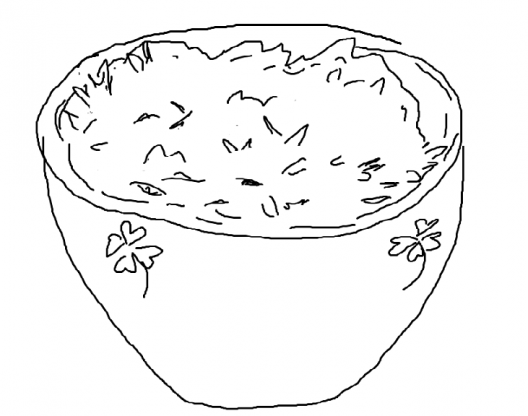 A line drawing of a cereal bowl with shamrocks decorating the edge, filled with food and simple leaves falling into the bowl.