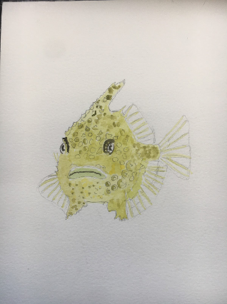 A handmade painting of a Spiny Lumpsucker fish. The fish is yellow with gray spines along its back and fins.