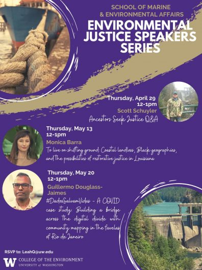 Promotional flyer for the SMEA Spring Environmental Justice Speakers Series. Images of each of the 3 speakers and the titles of their presentations on a purple background.
