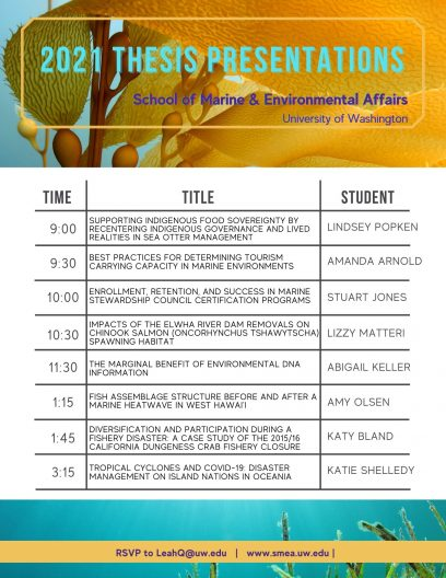 A poster listing the presentation times, topics, and student presenters for SMEA thesis presentations.